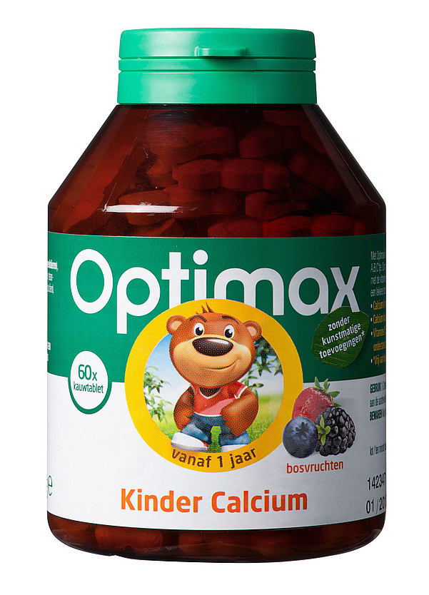 Optimax Kinder Calcium - 60 kauwtabletten
