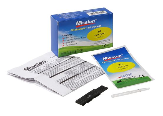 Mission 3-in-1 Cholesterol Test Strips - 5 stuks - Cholesterol Test Strips