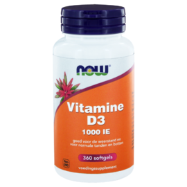 NOW Vitamine D3 1000 IE Softgels 360ST
